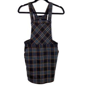 Forever 21 Overall Jumper Dress Navy & Green Plaid
